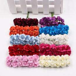 12 sztuk/partia Sztuczny Kwiat Mini Ładny Papier Rose Handmade Na Ślub Dekoracje DIY Prezent Scrapbooking Craft Fałszywy Kwiat W