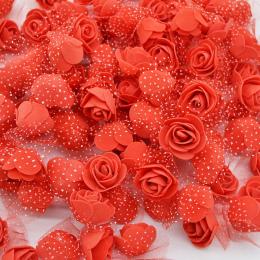 50 Sztuk/partia 3.5 cm Mini PE Pianka Rose Heads Sztuczny Jedwab Kwiaty Dla Domu Ogród DIY Pompom Wieńce Wedding Decor materiałó