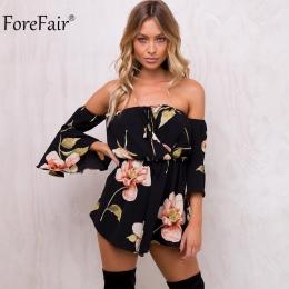 ForeFair Lato Kwiatowy Print Elastyczny pas Krótki Szyfonu Kombinezon Kobiety Flare Rękawem Startowe Cut Sexy Bez Ramiączek Romp