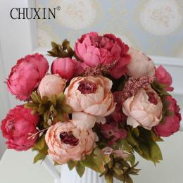 WZROST Jakości jedwabiu kwiat Europejskiej 1 Bukiet Sztuczne Kwiaty Spadek Żywe Piwonia Fałszywe Liści Strona Główna Dekoracje Ś