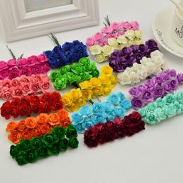 144 sztuk 1 cm tanie Sztuczne Papierowe kwiaty na Ślub samochód fałszywe Róże Wykorzystywane Do dekoracji Cukierków box DIY wien