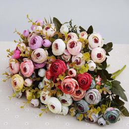 10 głowice/1 bundle Jedwabiu herbata róże bukiet Panny Młodej na Boże Narodzenie home ślub nowy Rok dekoracji fałszywe rośliny s
