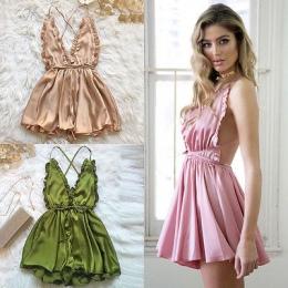 Moda Kobiety Sexy Piżamy Stylu Kombinezon Pajacyki Klubowa Playsuit Spodnie 3 kolor