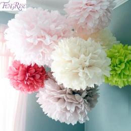 FENGRISE 5 pc 20 25 30 cm Dekoracje Ślubne Kwiat Pomponem Bibuły Pom Poms DIY Sztuczne Kwiaty Wesołych Świąt dekoracji