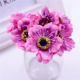6 sztuk 3.5 cm mini jedwabiu cherry sztuczne poppy bukiet DIY handmade tattoo wieniec księga gości dekoracje ślubne craft kwiat