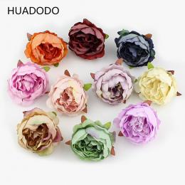 HUADODO 10 sztuk 5 cm Piwonia kwiat głowy jedwabiu Sztuczne Kwiaty Do Dekoracji Ślubnych DIY Dekoracyjne Wieniec Sztuczne Kwiaty