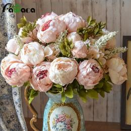 Europejski Styl Fałszywe Sztuczne Piwonia Silk Dekoracyjne Party Kwiaty Dla Home Hotel Ślub Biura Ogród Decor Rose Kwiaty