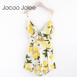 Jocoo Jolee Sexy Głęboki Dekolt Kobiety Kombinezon Kwiatowy Print Lace up Lato Kobiety Playsuit Wysokiej Talii Romper Kombinezon