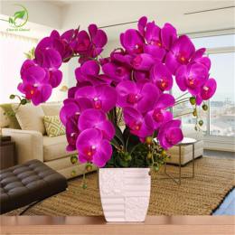 Moda Sztuczne Kwiaty DIY Sztuczne Butterfly Orchid Orchidea Silk Bukiet Kwiatów Phalaenopsis Ślub Dekoracja Domu