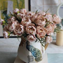 1 bukiet Europejskiej Dość Wedding Party Mini Piwonia Jedwab Sztuczny Kwiat Bukiet Panny Młodej Dla Domu Dekoracje Ślubne