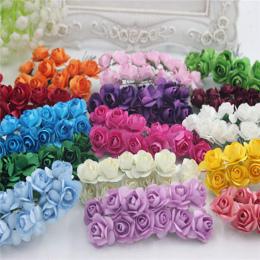 12 Sztuk/partia 1.5 cm sztuczne mały papieru rose handmade party supplies ślub samochód dekoracji Sztuczny kwiat