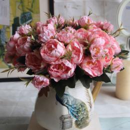 1 Gorgeous Bukiet Sztuczne Piwonia Rocznika Jesień Symulacja Piwonia Bukiet Ślubny Kwiaty Strona Dekoracji Wnętrz Biurowych