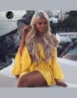 Lily Rosie Dziewczyna Off Ramię Żółty Sexy Przebrania Kobiety Big Flare Rękawem czerwony Kombinezony 2018 Beach Party Casual Lac