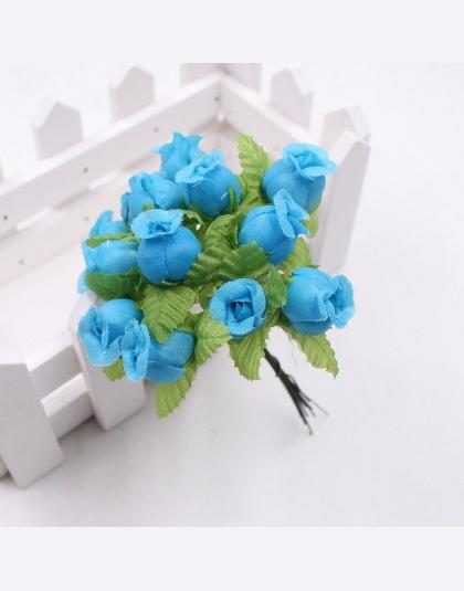 12 Sztuk 2 Cm Ręcznie Mini Silk Rose Bukiet Sztuczny Kwiat Wieniec Clip Art Fałszywy Kwiat ślubne Dekoracje Diy Dekoracji