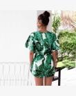 2018 Głębokie V Neck Lato Body Kobiety Zielone Liście Druku Plaża Playsuit Kobiet Krótkie Kombinezony Kombinezon Casual Boho Bod