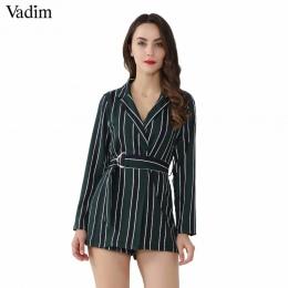 Vadim kobiety chic striped przebrania muszka sashes Notched collar urząd lady wear kombinezony slim przyczynowy marka pajacyki K