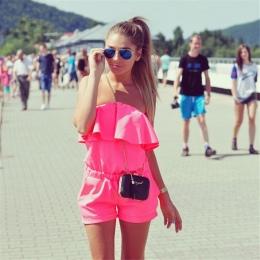 2018 Kobiety off ramię Kombinezon ruffles romper Body casual Kobiet plus size cukierki kolor Lato szorty