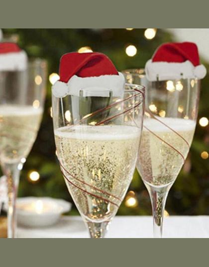 10 Sztukpartia Boże Narodzenie Dekoracje Dla Domu Tabeli Miejsce Karty Christmas Santa Kapelusz Kieliszek Do Wina Dekoracji Now
