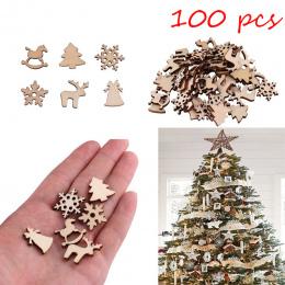 100 sztuk Naturalne drewniane DIY choinka Wiszące Ozdoby Wisiorek Prezenty Drzewa Płatki Śniegu Stół Butelki DTY Decoration7A065