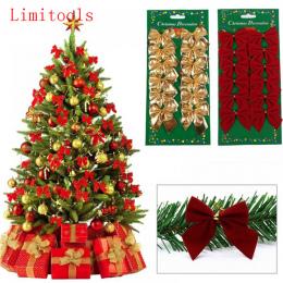 12 SZTUK Ładny Łuk Ozdoby Xmas Christmas Tree Decoration Festiwal Party Bowknots Bombki Bombki Nowy Rok Dekoracji Domu