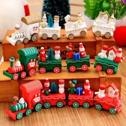 Nowy Boże Narodzenie pociąg malowane drewno z Santa/bear Xmas kid zabawki prezent ornament navidad Świąteczne Dekoracje dla domu