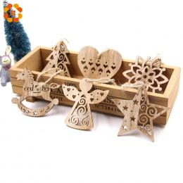 6 sztuk Europejskie Hollow Boże Narodzenie Płatki Śniegu Drewniane Zawieszki Ozdoby dla Xmas Tree Ornament Christmas Party Dekor