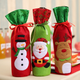 Dekoracje na boże narodzenie Święty Mikołaj Butelka Wina Torby Snowman Prezenty Szampana Cekiny Posiadacze Xmas Home Dinner Part