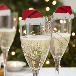 Ładne Dekoracje Na Boże Narodzenie Dla Domu 10 sztuk Tabeli Miejsce Karty Boże Narodzenie Santa Kapelusz Kieliszek do wina Dekor