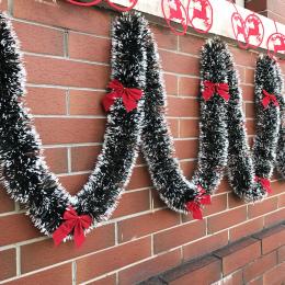 Pop 2 m Świąteczne Dekoracje Bar Topy Ribbon Garland Ozdoby Choinkowe Biały Ciemny Zielony Trzciny Blichtr Strona Dostaw