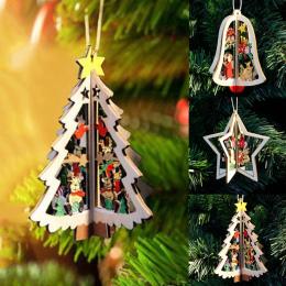 1 pc Nowy Ozdoby Choinkowe Wiszące Xmas Drzewo Home Party Decor 3D Wisiorki Wysokiej Jakości Drewniane Wisiorek Dekoracji Kolor