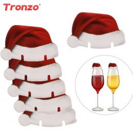 Tronzo Świąteczne Dekoracje Dla Domu 30 sztuk Santa Claus Kapelusze Papieru Wineglass Karty Boże Narodzenie Ozdoby Wina Szkła Ka