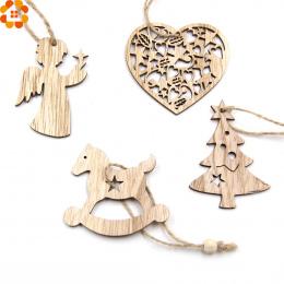 10 sztuk DIY Boże Narodzenie Płatki Śniegu i Deer & Drzewo Drewniane Zawieszki Ozdoby Christmas Party Dekoracje Xmas Ozdoby Choi