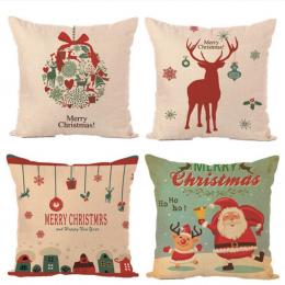 Dekoracje świąteczne Wesołych Świąt Litery Plac Pościel Kerst Poszewka Santa Łosie Dzwon Pokrywa Poduszki dla Domu Sofa Xmas Dec