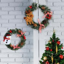2018 Boże Narodzenie Wieniec Drewna Christmas Decor Dla Domu Santa Snowman Grand Choinka Christmas Gift Xmas Ozdoba Zawieszka Na