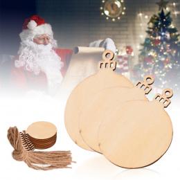 10 sztuk Drewniane Okrągłe Bombki Tagi Christmas Kulki Dekoracje Art Craft Ozdoby Boże Narodzenie DIY Dekory