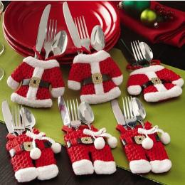 Promocja 6 sztuk/partia Świąteczne Dekoracje Dla Domu Srebra Holdersanta Kieszenie Dinner Nóż Widelec Posiadacze Święty Mikołaj