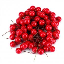 100 sztuk Sztuczne Red Holly Berry Christmas DIY Home Ogród Dekoracje Świąteczne Dostawy