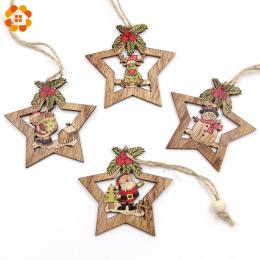 4 sztuk Christmas Star Drewniane Zawieszki Ozdoby Xmas Tree Ornament DIY Rzemiosło Drewna Dzieci Prezent dla Domu Christmas Part