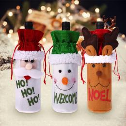 Boże narodzenie Xmas Butelka Wina Pokrowce Torba Santa Claus Snowman Butelka Pokrywa Kolacja Tabeli Dekoracji dla Domu Nowy Rok