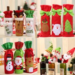 Boże narodzenie Butelka Wina Wystrój Zestaw Mikołaj Snowman Deer Butelka Pokrywa Ubrania Dekoracji Kuchni na Nowy Rok Xmas Dinne