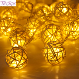 FENGRISE 20 Rattan Ball Led String Fairy Lights Choinki Ozdoby Xmas Dekoracji Ciepłe Białe LED Lights Home Garden Decor