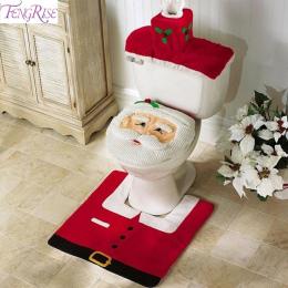 FENGRISE 3 sztuk Fancy Santa Claus Dywan Siedzenia Łazienkowy Contour Dywan Świąteczne Dekoracje Navidad Xmas Party Supplies Now