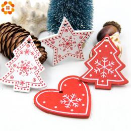 12 sztuk DIY Białe i Czerwone Drzewo/Serce/Gwiazda Drewniane Zawieszki Ozdoby Dla Christmas Party Xmas Ozdoby Choinkowe dzieci P