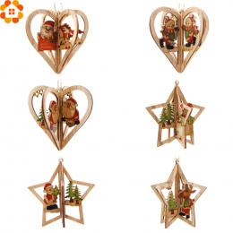 3 zestawy 3D Kreatywne Boże Narodzenie Drewniane Zawieszki Ozdoby DIY Star & Serca Christmas Party Dekoracje Xmas Ozdoby Choinko