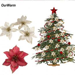 OurWarm 10 sztuk Sztuczne Kwiaty Boże Narodzenie Dekoracje dla Domu Ozdoby Choinkowe Drzewo Xmas Nowy Rok Wystrój Navidad 2018