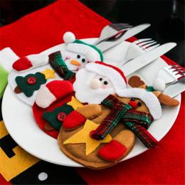 6 Sztuk 2018 dekoracje na Boże Narodzenie Dla Domu Tabela Kolacja Decor Śliczne Garnitur Sztućce Noże Ludzi Bag Holder Kieszenie