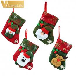 Piękne Świąteczne Pończochy Skarpetki 2018 Nowy Rok Święty Mikołaj Cukierki Gift Bag Xmas Tree Decor Festiwal Party Supplies