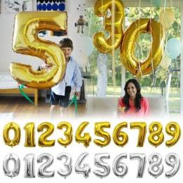 32 cal Złoto Srebro Numer Balony Foliowe Cyfrowy powietrza Balon Birthday Party Dekoracje Ślubne Rysunek balon Party Supplies Gl