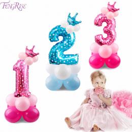 Numer FENGRISE 17 SZTUK Niebieski Różowy Szczęśliwy Urodziny Balon Balon Urodziny Dekoracji Dzieci Chłopiec Dziewczyna Impreza b