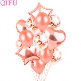 QIFU Rose Złota Gwiazda Serce Foliowe Balony Ślubne Powietrza Helem Balon Balon z Okazji Urodzin Strona Dekoracji Dzieci Balonem